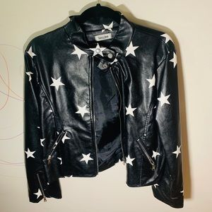Star Print Faux Leather Jacket